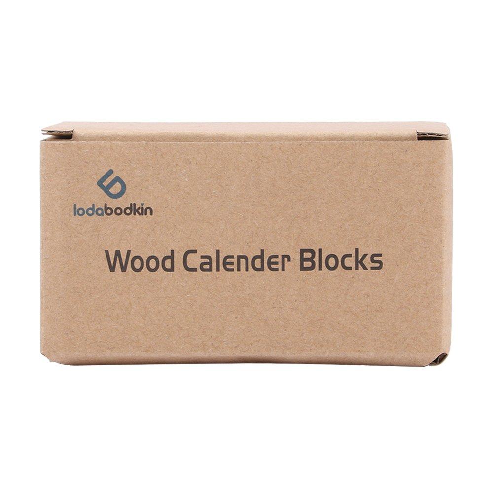 Lodabodkin Creative Wooden Cubes Perpetual Calendar, Desk Organizers Decorations