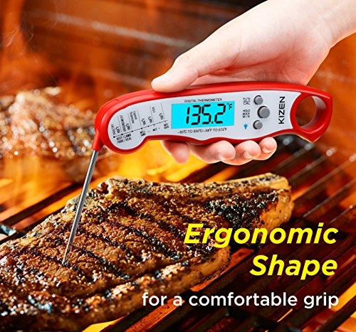 Instant Read Meat Thermometer - Best Waterproof Ultra Fast Thermometer with Backlight & Calibration. Kizen Digital Food Thermometer for Kitchen, Outdoor Cooking, BBQ, and Grill! (Red) by Kizen (Image #3)