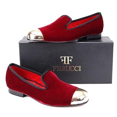 Handmade FERUCCI Men Plain Burgundy Velvet with Gold Toe Slippers loafers