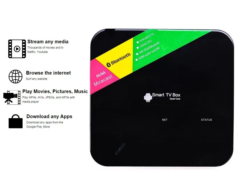 Android Quad Core Media Player with Wifi, Bluetooth, XBMC, Watch TV Shows,  Movies, Games, Internet