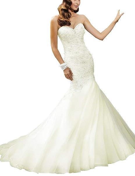Ugly Women S Mermaid Beaded Bridal Gowns Organza Sweetheart