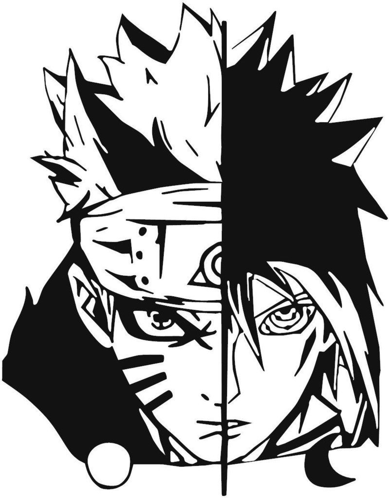 Amazon com naruto naruto uzumaki and sasuke uchiha decal sticker for car truck laptop 5 5 x 4 3 automotive