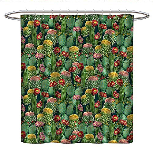 Anshesix Nature Decorcloth Shower curtainGarden Flowers Cactus Texas Desert Botanic Various Plants with Spikes PatternCurved Shower Curtain rodMulticolor