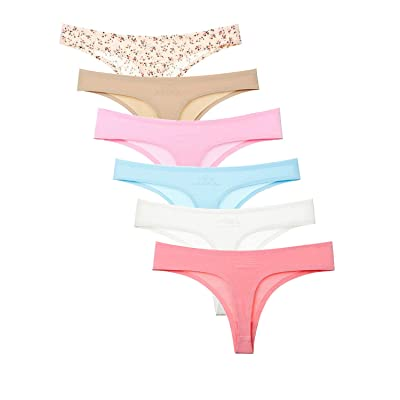 Tangle NINI 6 Pack Women's Ice Silk Invisible Seamless Thongs Breathable and Sexy Bikini Underwear at Women's Clothing store