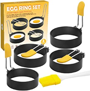 Luckindom Egg Rings, 4 Pack of Nonstick Metal Pancake Cooker Egg Shaper Molds with Silicone Oil Brush, Kitchen Breakfast Cooking Tool for Frying, Shaping Fried Eggs, McMuffin, Omelette(Round)