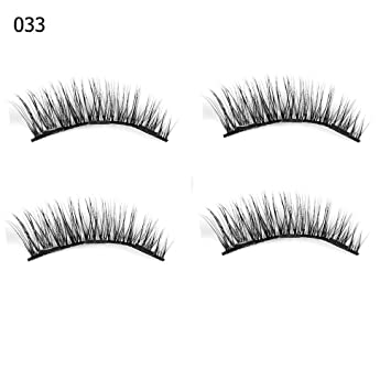 c02b8da3f4d Amazon.com : 1 Set 0.07 Triple Magnetic False Eyelashes Extension Tools  Full Coverage Glue-Free Magnets Eye Lashes Thick Long Makeup Tools 033 :  Beauty