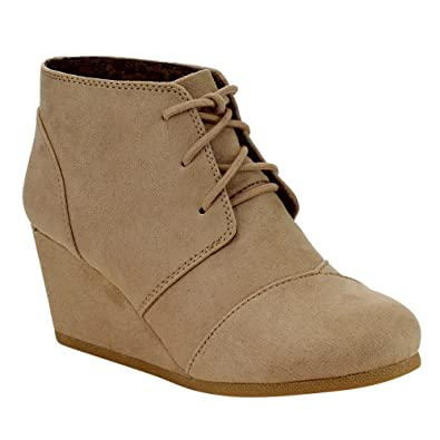 a5951fbc7f4f Image Unavailable. Image not available for. Color  City Classified  CityClassified REX-S Women s Comfort Lace Up Wedge Dress Ankle ...