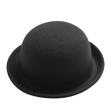 d58e839f Image Unavailable. Image not available for. Color: Leegoal Black Fashion  Wool Winter Cloche Cap Women's Vintage Trendy Bowler Derby Hat Cool Men