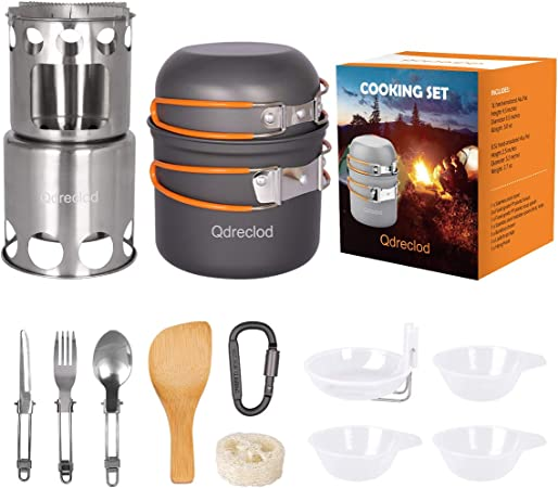 Kit de Utensilios de Cocina para Acampar con Estufa de Camping, Aleación Ligera de Al de Ollas y Sartenes de Acampar, Plegable de Acero Inoxidable ...