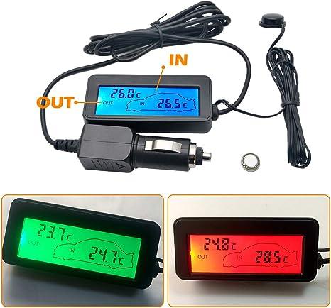 con modalit/à di trasformazione 12h//24h Sunwan misuratore della temperatura del veicolo con luce nera e schermo LCD orologio digitale universale per cruscotto dellauto