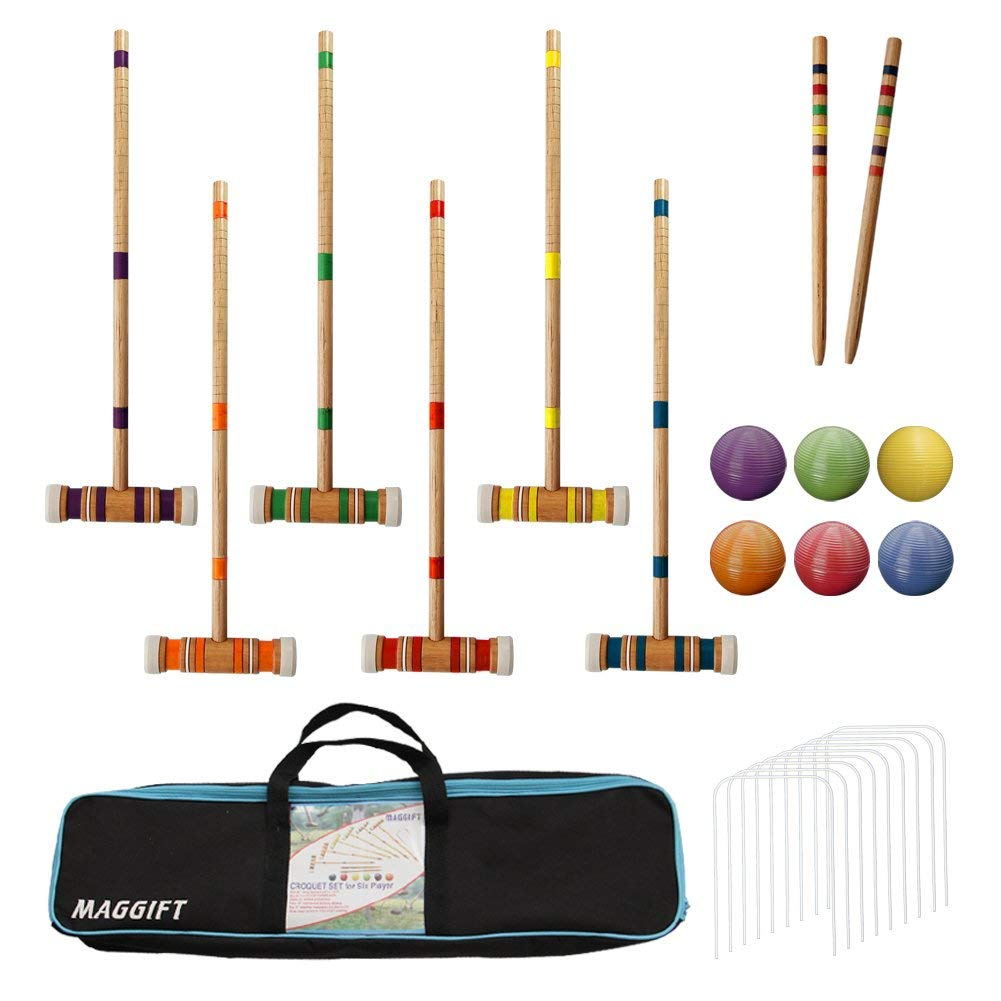 Maggift Six Player Croquet Set with Carrying Bag, 26-Inch (Renewed)