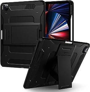 Spigen Tough Armor Pro Designed for iPad Pro 12.9 inch Case 2021 5th Generation with Pencil Holder - Black