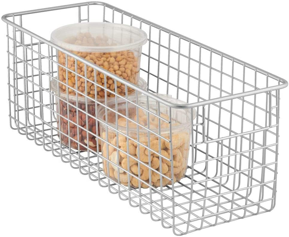 "mDesign Farmhouse Decor Metal Wire Food Storage Organizer Bin Basket with Handles for Kitchen Cabinets, Pantry, Bathroom, Laundry Room, Closets, Garage - 16"" x 6"" x 6"" - Chrome"