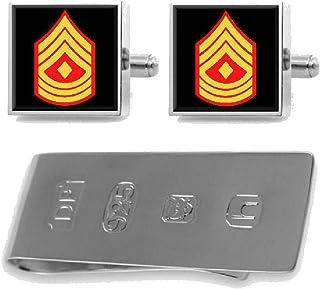 Sterling Cufflinks Money Clip U.S Marines First Sergeant