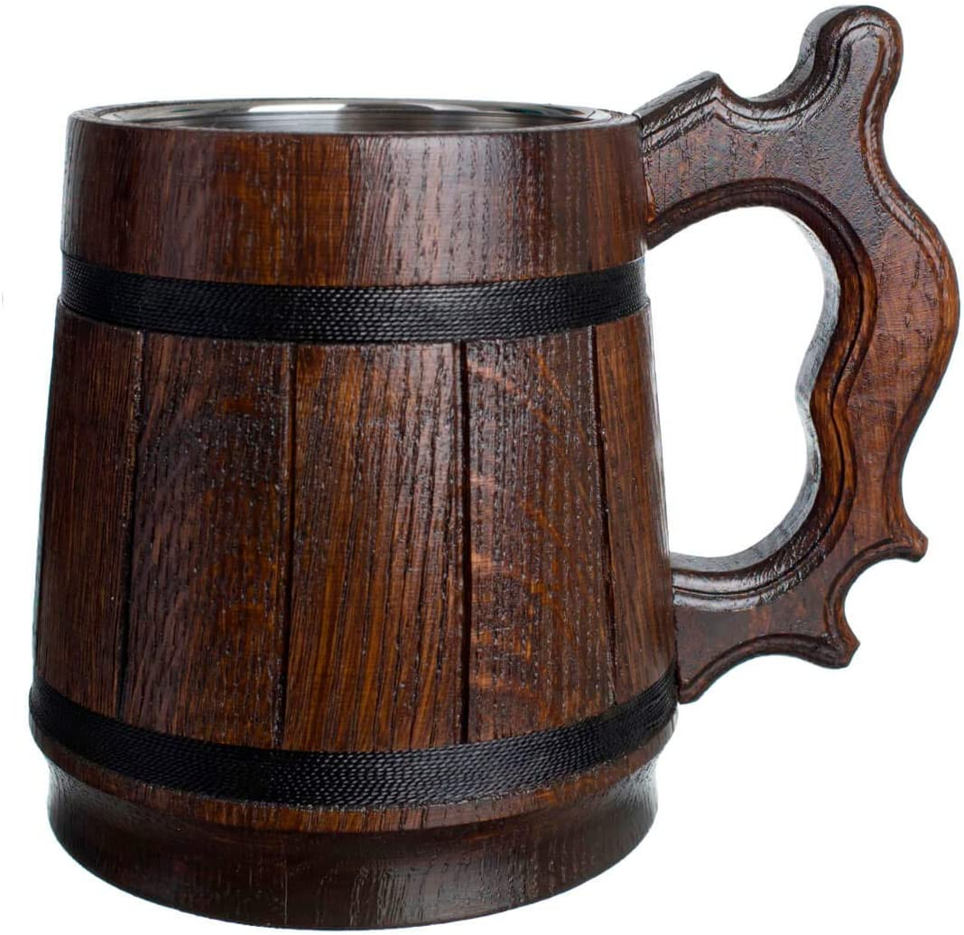 MyFancyCraft Wood Beer Mug 0.6L 20oz with Gift Box Stainless Steel Cup Men Eco-Friendly Souvenir Handmade Retro Brown