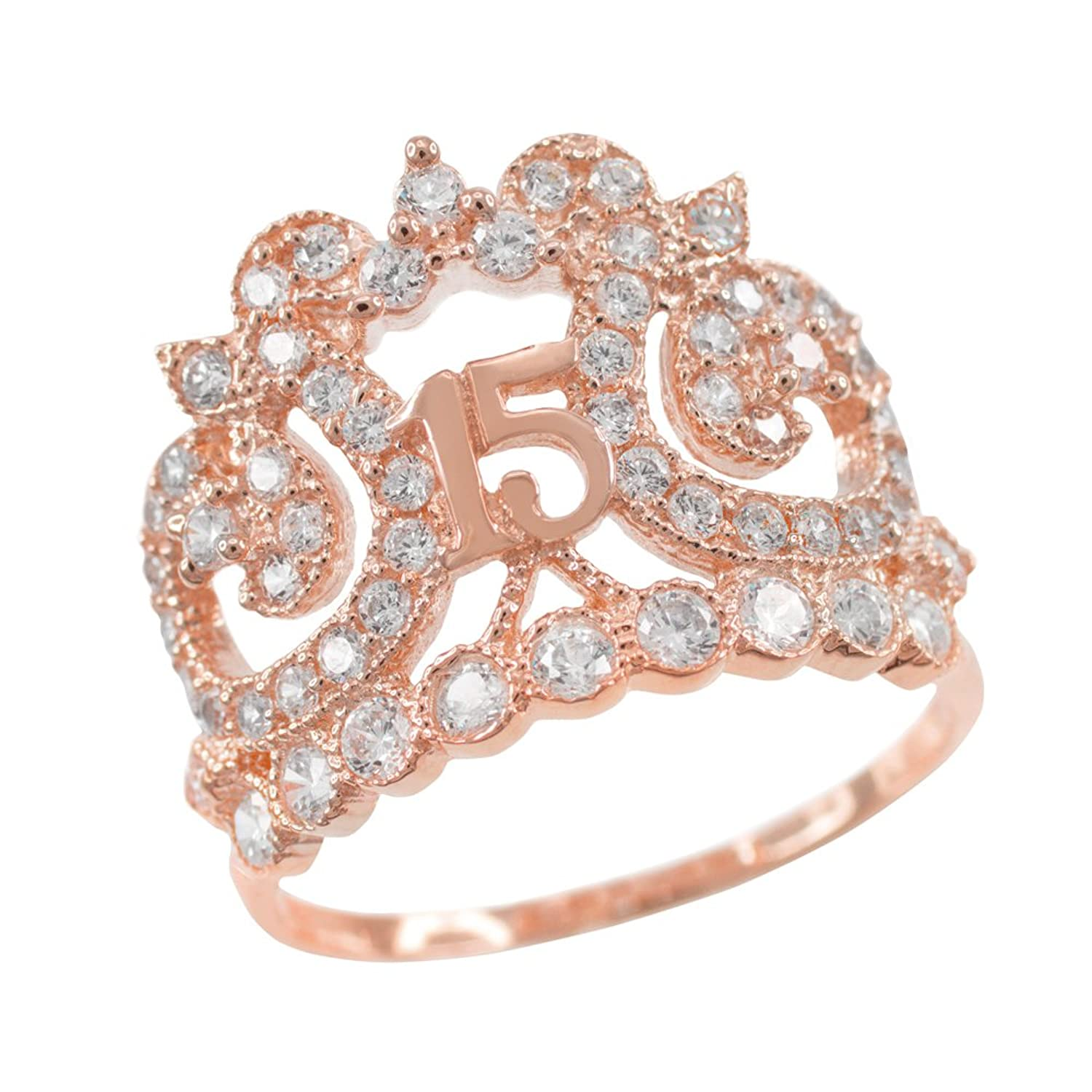 anos quinceanera heart ring cz rings gold white