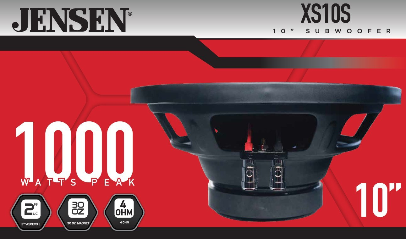 Jensen XS10 10 inch High Performance Subwoofer with a 2 inch Single Voice Coil and 1000 Watt Peak Power by Jensen