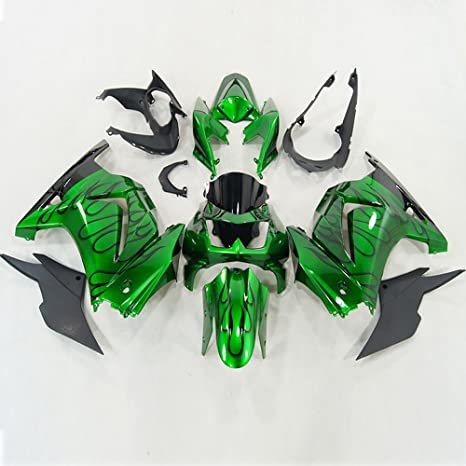 Amazoncom Moto Onfire Abs Injection Black Flame Green