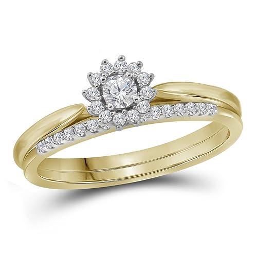 10 kt oro amarillo para mujer redondo Halo de novia boda banda de anillo de compromiso