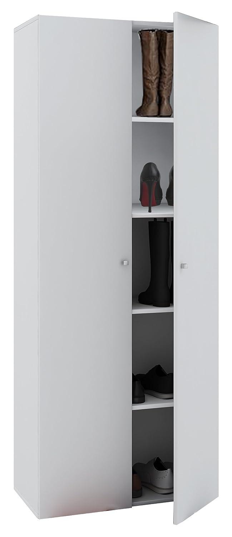 VCM Fulas Mini Schuhregal, Holzstruktur, Weiß, Einheitsgröße