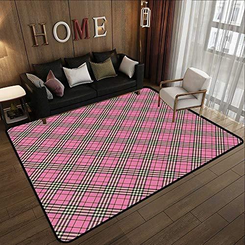 (Bath Rugs,Geometric,Traditional Ethnic Tartan Pattern Scottish Striped Checkered Graphic Tile Print,Pink Black 35