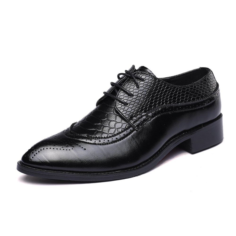 WULFUL Men's Leather Dress Oxfords Shoes Business Retro Gentleman Black 7.5-8 D(M) US by WULFUL (Image #2)