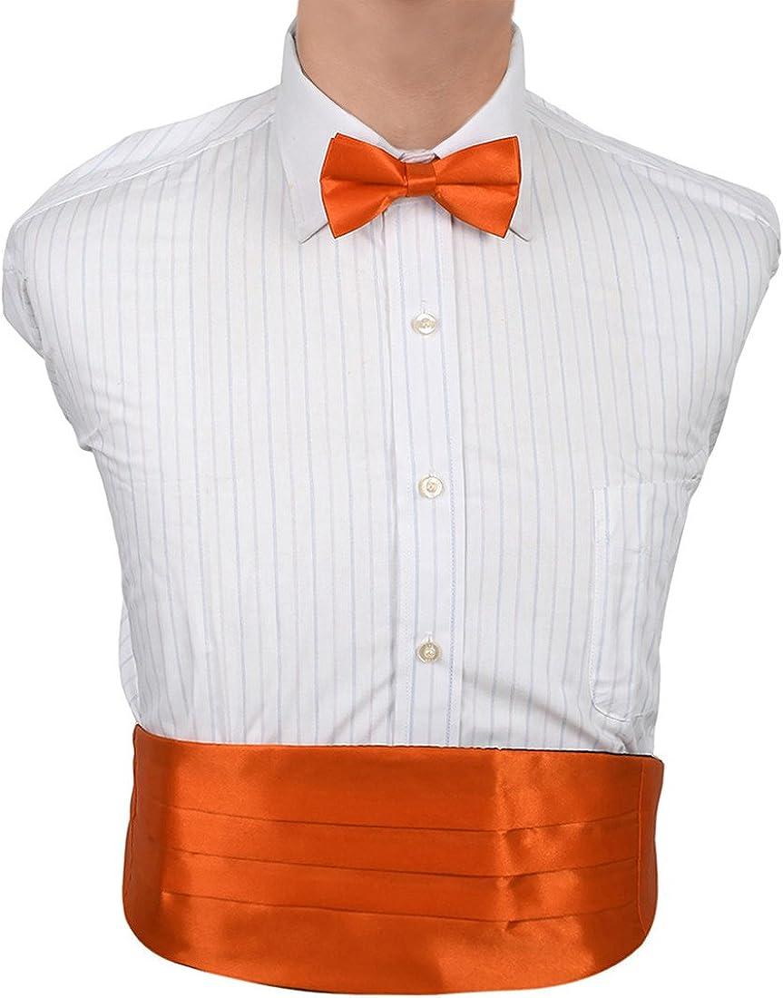 Dan Smith Men's Fashion Multicolored Solid Microfiber Cummerbund Bow Tie Set With Box