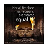 """Fireplace Mesh Screen Curtain. 18"""" High (9-18). Includes two panels, each 24"""" wide. This provides enough screen for a good looking natural """"drape"""" effect on the average fireplace. Cool Grip Matte Black Screen Pulls included."""