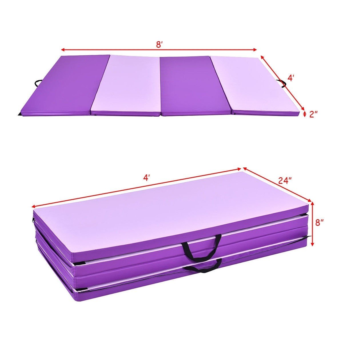 MD Group Two Size Thick Folding Panel Gymnastics Mat, 8