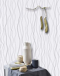 "White Peel and Stick Wallpaper Stick and Peel Self Adhesive Wallpaper Removable Wallpaper White Wave Wallpaper Silver Stripe Contact Paper Shelf Drawer Liner Wall Covering 17.7""x78,7"""