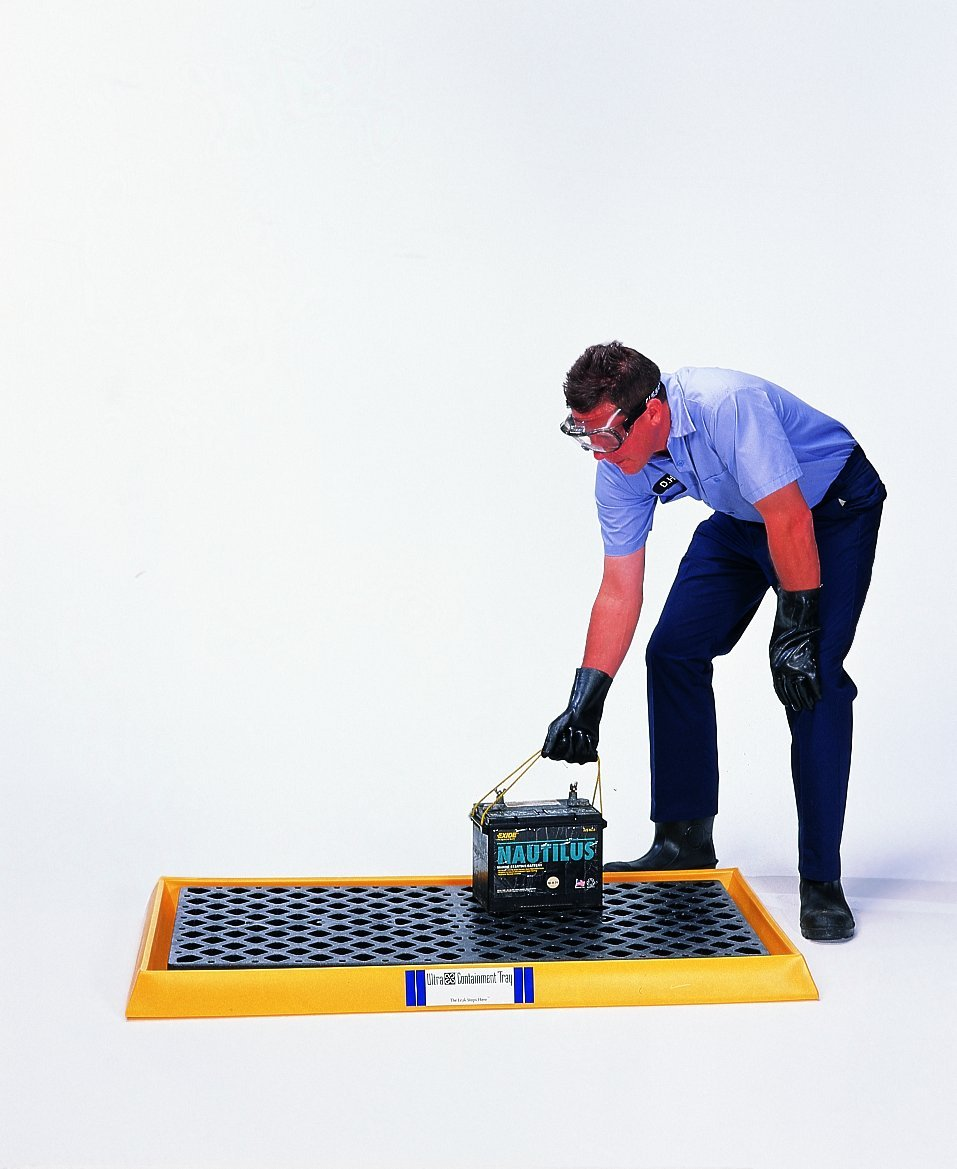 UltraTech 2352 Polyethylene Ultra-Containment Tray with Grating, 14 Gallon Containment Capacity, 5 Year Warranty, Yellow
