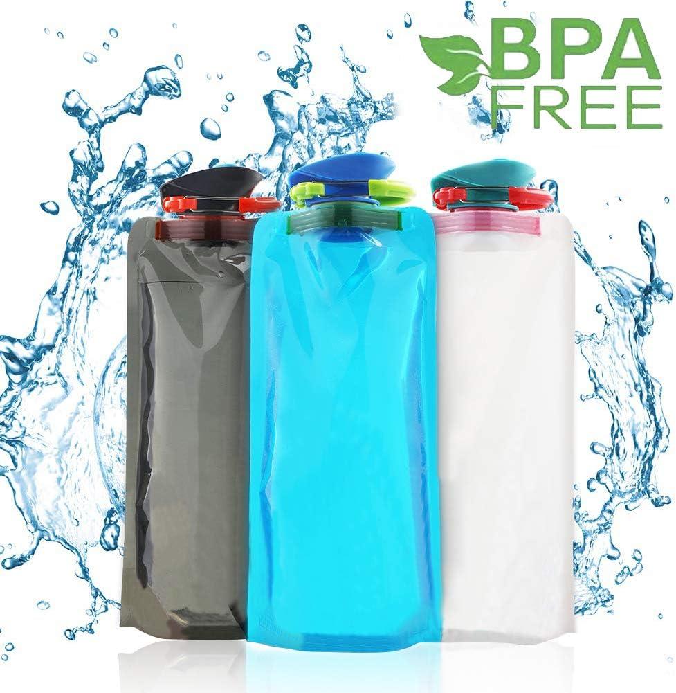 BESTZY Bolsa de Agua,700 ML Bolsa de Agua Reutilizable Plegable Botella,Botella de Agua Plegable para Senderismo,Aventuras,Viajes