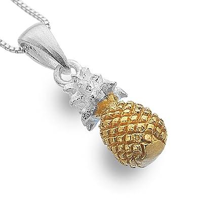 b6a22fe41abe Plata de Ley Kitsch joyas  plata y oro piña colgante (N33)  Amazon ...