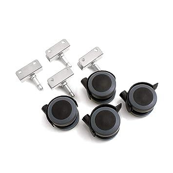 Design61 Universal M/öbelrollen mit U-Aufnahme 16mm Gummirollen Lenkrollen Laufrollen Bodenschutz Rollen mit Feststeller Plattenschuhe mit Stift 4 St/ück