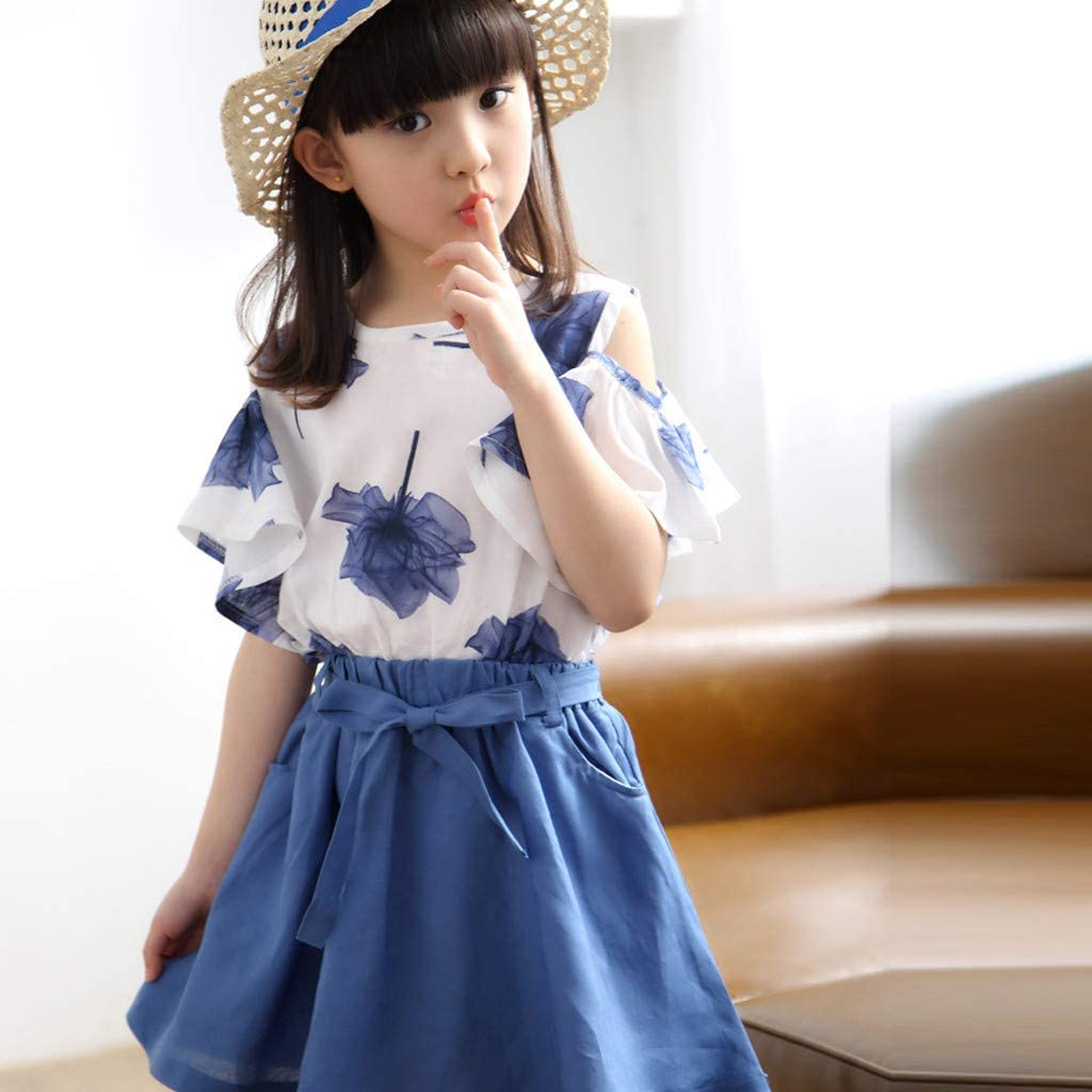 Moonker Baby Girl Summer Clothes Outfit 2-8 Years Old Kid Short Sleeve Strap Beachwear Princess T Shirt Tops Skirt Set