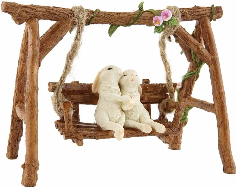 Top Collection Rabbit Lovers on Swinging Garden Bench Miniature