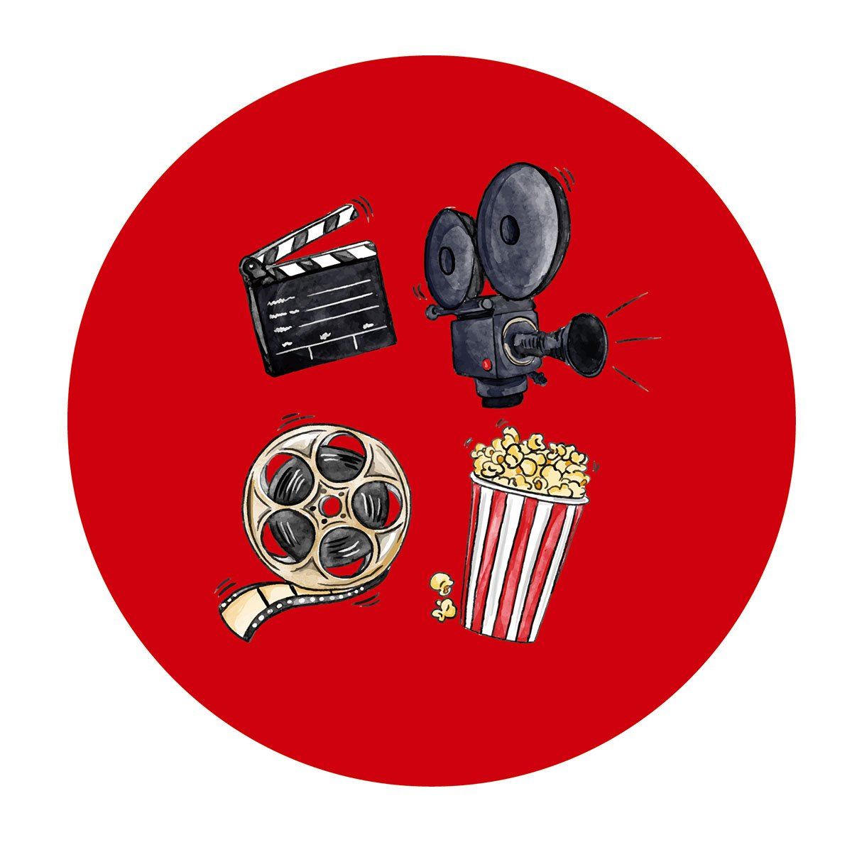 Movie night stickers, cinema theater Hollywood themed birthday or other party favor sticker labels, 2 inch, 40-Pack