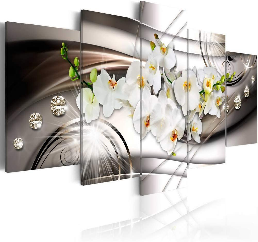 White Orchid with Diamonds Floral Canvas Art Prints Wall Artwork 5 panels Modern Flower Painting Decorations for living room Framed Ready to hang
