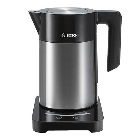 Bosch TWK7203 Hervidor de agua de acero inoxidable con controles táctiles, capacidad para 1,7 L, 2200 W, Gris y negro