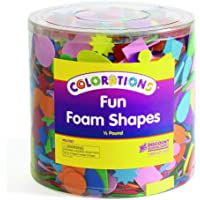 Colorations Bucket of Fun Foam Shapes Multicolor Arts and Crafts Material for Kids (1/2 lb.)