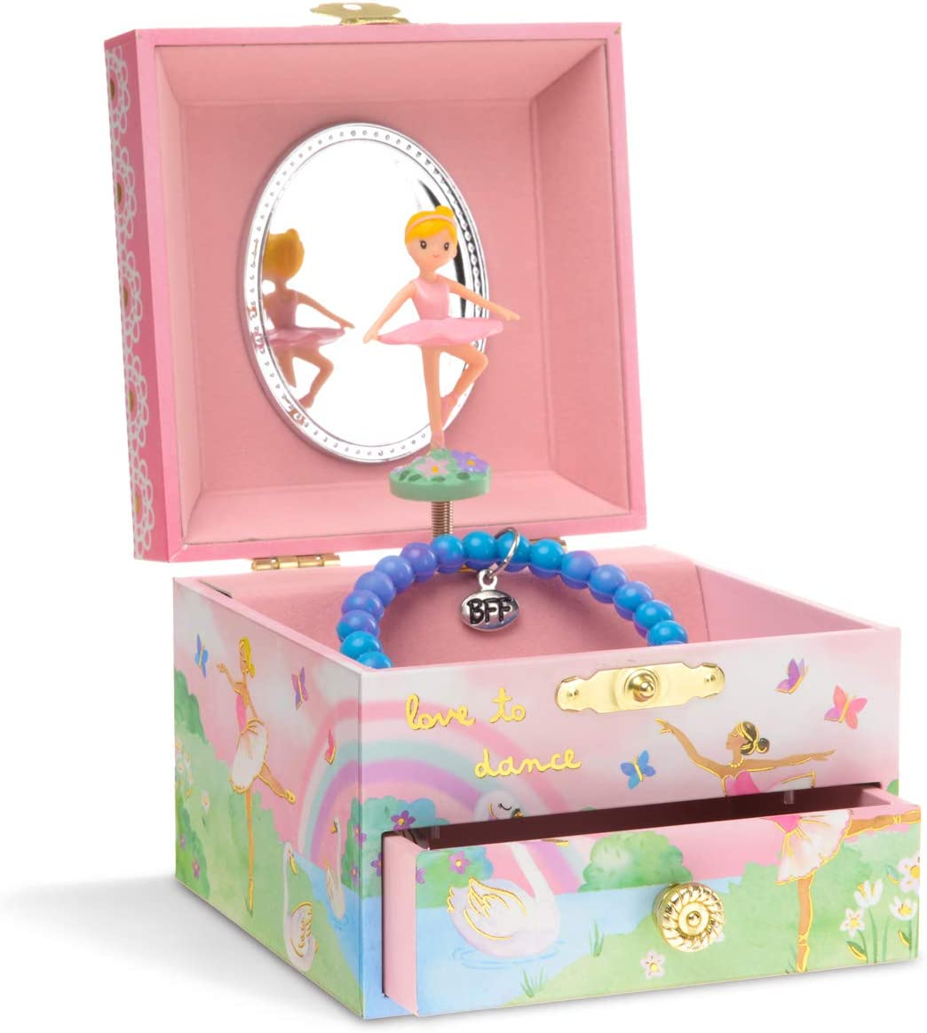 Jewelkeeper Musical Jewelry Box with Spinning Ballerina, Rainbow and Gold Foil Design, Swan Lake Tune