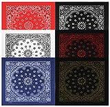 Large Bandanas 27 x 27 | Versatile Biker Rags | Classic Paisley Bandana Pattern,6 Pack,B.White/B.Copper/B.Red/White/Red/Navy