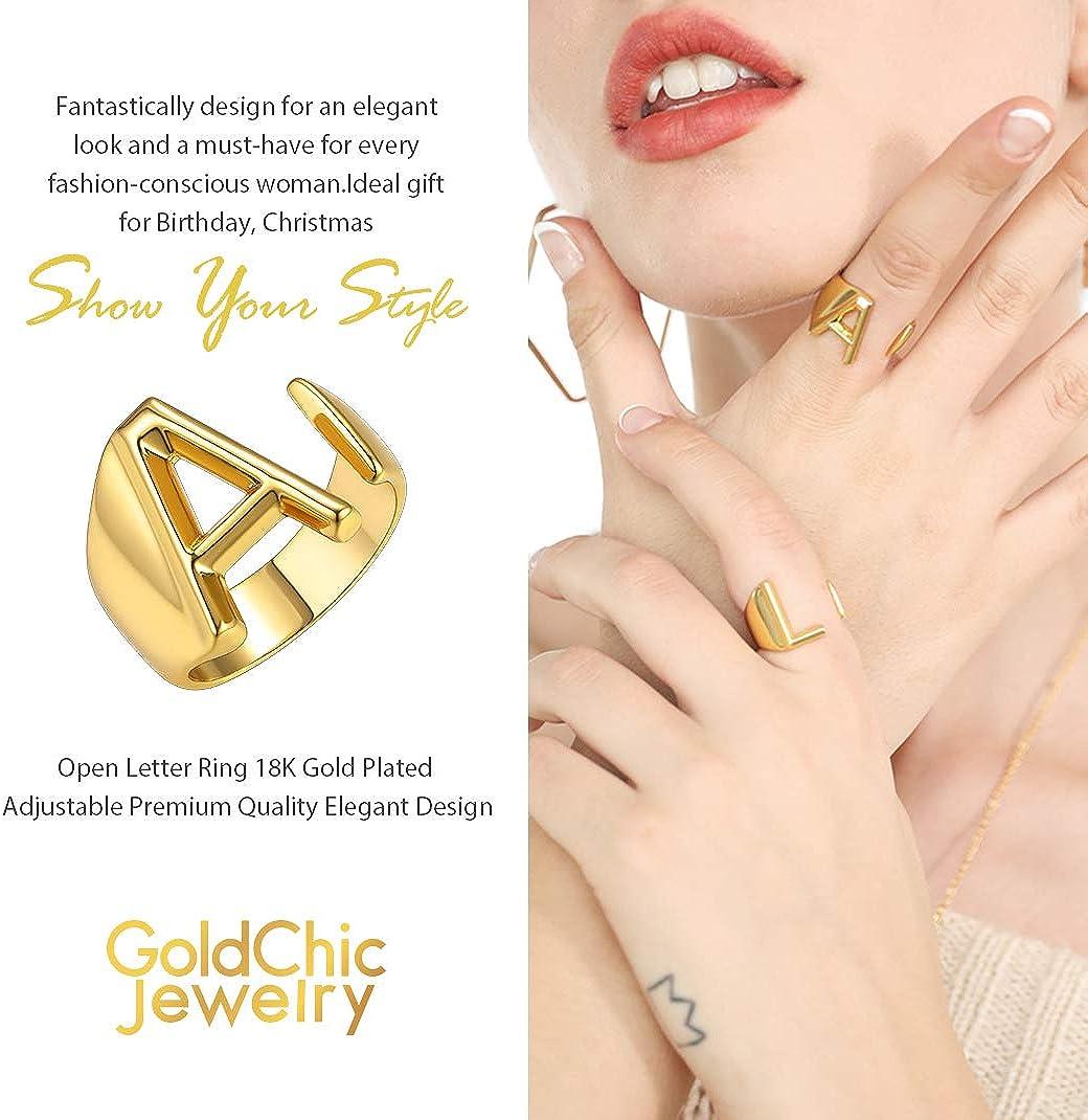 GoldChic Jewelry Anneau Ouvert Bague Lettre A-Z en cuivre Plaqu/é Or 18K Accessoires de Mode Anneau Simple pour Unisex