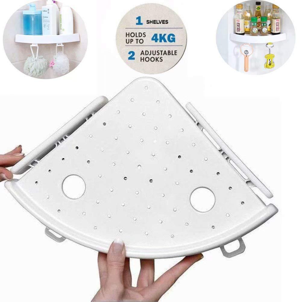 XHSP Snap Up Corner Shelf Triple Wall Corner Mount Storage Holder Rack with Hooks Easy to Install for Bathroom Kitchen
