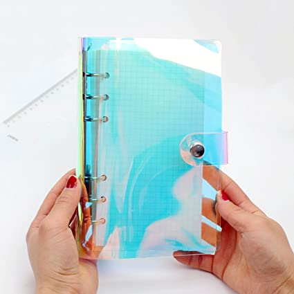 Standard 6-Ring Rainbow Clear Soft PVC Notebook Cover Protector Round Ring Binder Loose leaf Folde for Ring-Bound Planner Page (Inner Paper Not ...