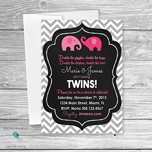 Amazon Com Twin Girl Baby Shower Invitation Twin Baby Shower