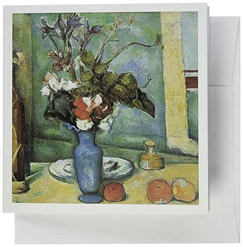3dRose Blue Vase by Paul Cezanne Impressionist Still Life - Greeting Cards, 6 x 6 inches, set of 6 (gc_126445_1) - Paul Cezanne Vases