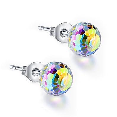 fbb81fb0d ZHIYAOR Austria Crystal Ball (6MM-8MM) Stud Earrings for Women Girls  Sensitive Ears