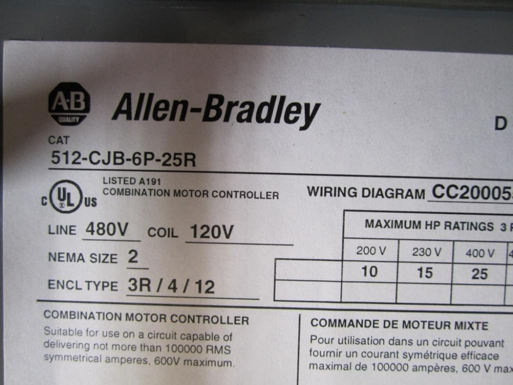 Allen Bradley 512 Cjb 6p 25r Starter Disconnect Combination Motor Controller Wiring Diagram Industrial Scientific