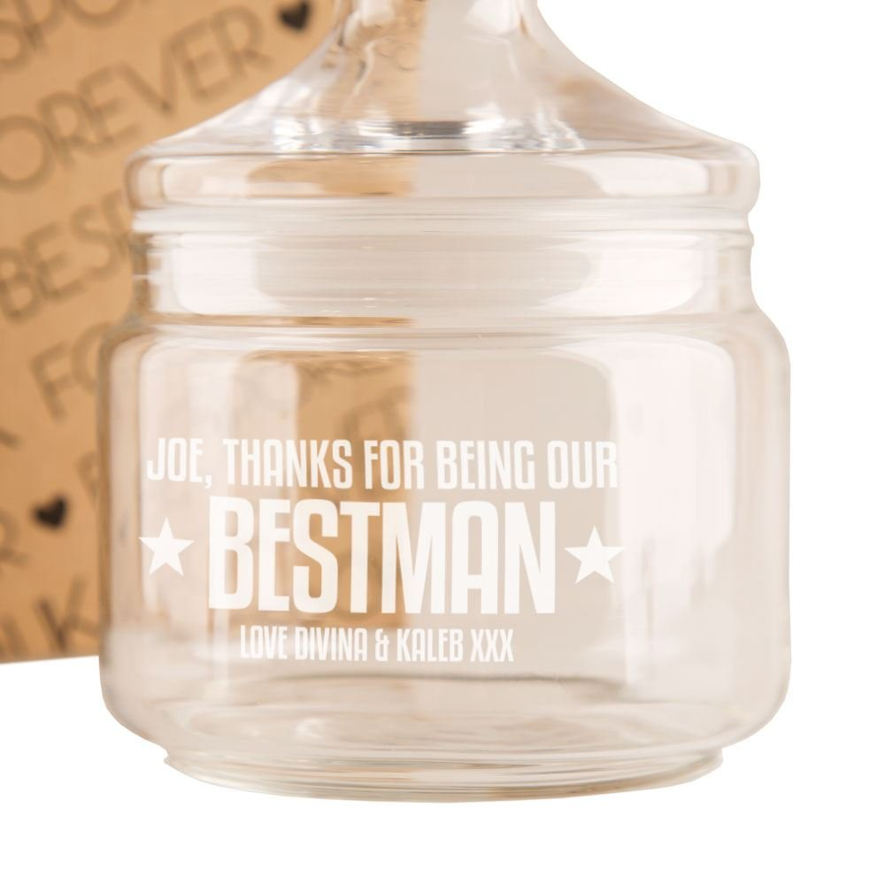 Wedding Party Favours Bridal Party Thank You Gift Personalised Best Man Engraved Glass Sweet Jar